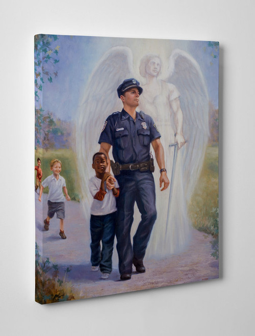 The Protector: Police Guardian Angel Gallery Wrapped Canvas