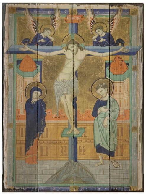 Crucifixion Icon Rustic Wood Plaque