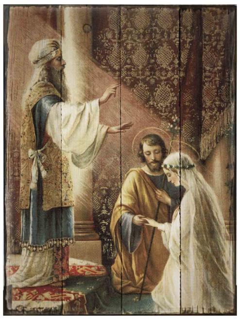 Wedding of Joseph & Mary Rustic Wood Plaque