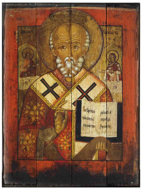 St. Nicholas (Greek Icon) Rustic Wood Icon Plaque