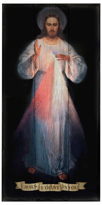 Divine Mercy Vilnius Original Rustic Wood Plaque