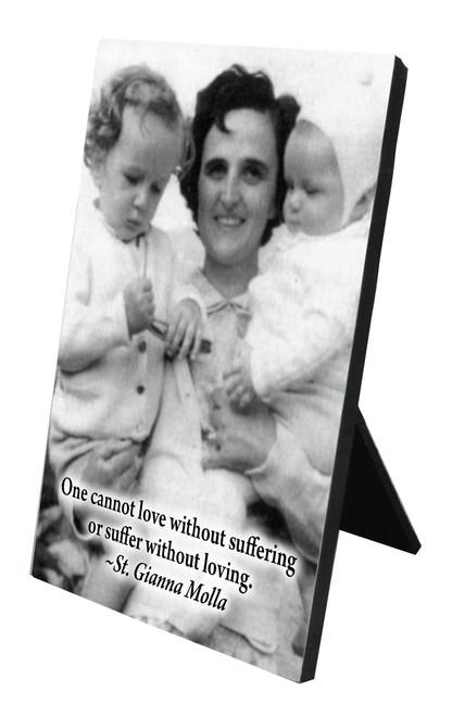 St. Gianna Molla (Black & White) Vertical Desk Plaque