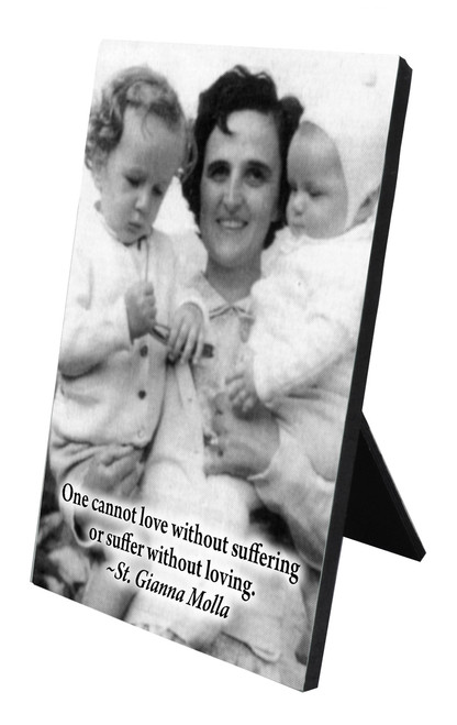St. Gianna Molla (Black & White) Vertical Desk Plaque