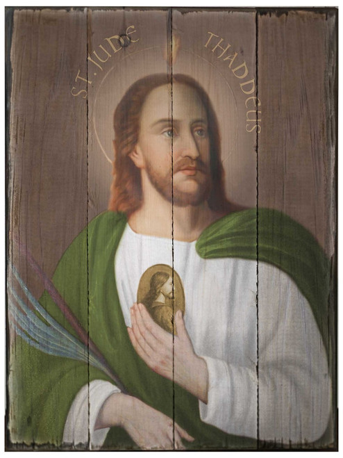 Saint Jude Rustic Wood Plaque