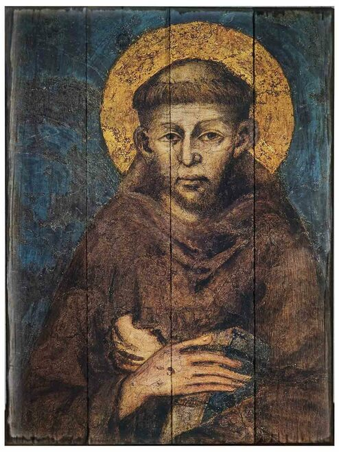 St. Francis by Cimabue Rustic Wood Icon Plaque