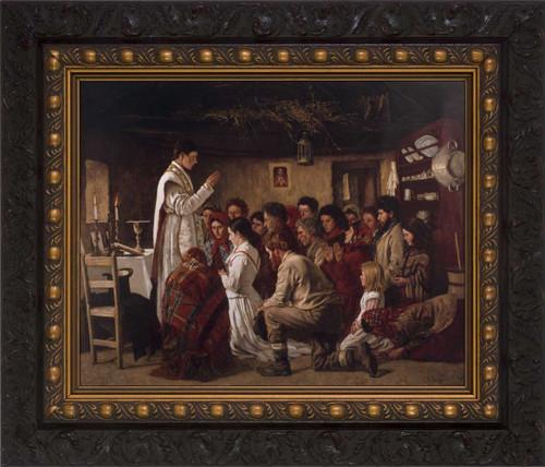 Mass in a Connemara Cabin - Ornate Dark Framed Art