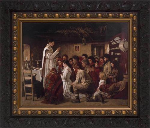 Mass in a Connemara Cabin - Ornate Dark Framed Canvas