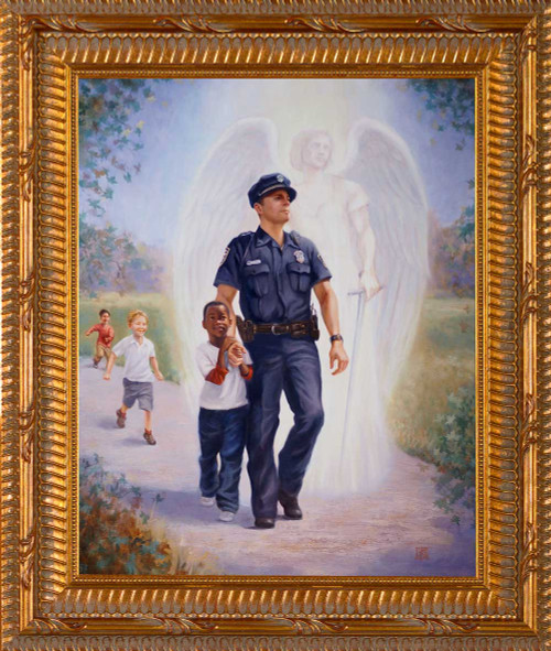 The Protector: Police Guardian Angel - Ornate Gold Framed Art