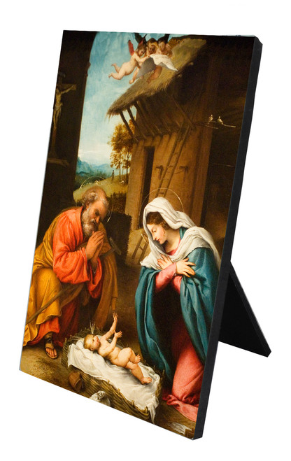 Nativity with Reaching Jesus Vertical Desk Plaque