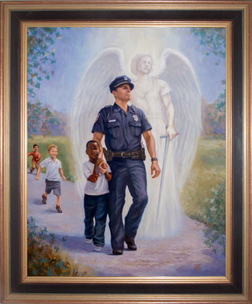 The Protector: Police Guardian Angel - Black and Gold Framed Art