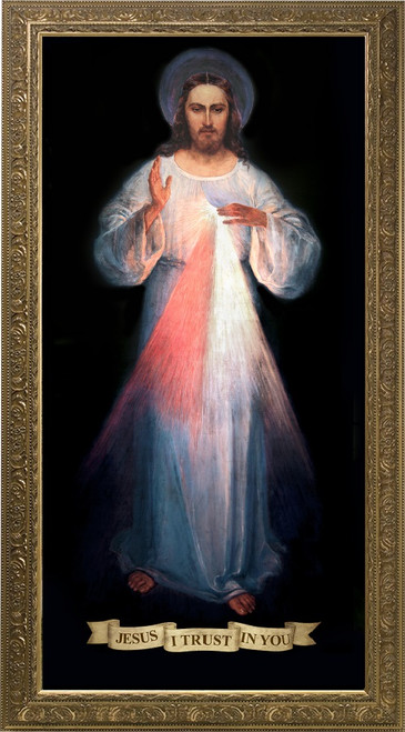 Divine Mercy Vilnius Original - Gold Framed Canvas