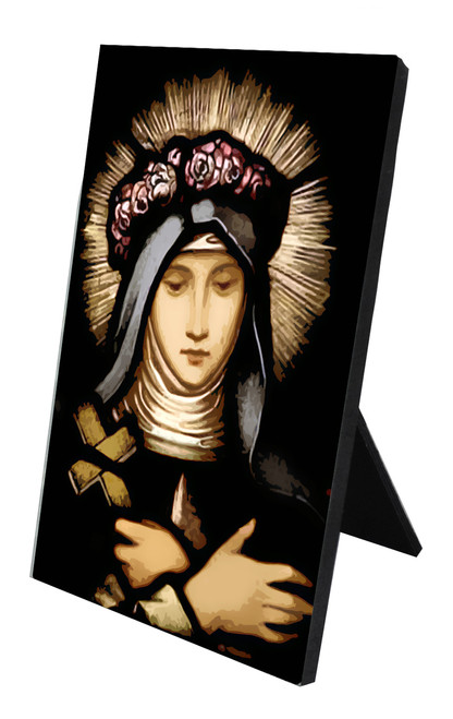 St. Rose of Lima Stained Glass Vertical Desk Plaque