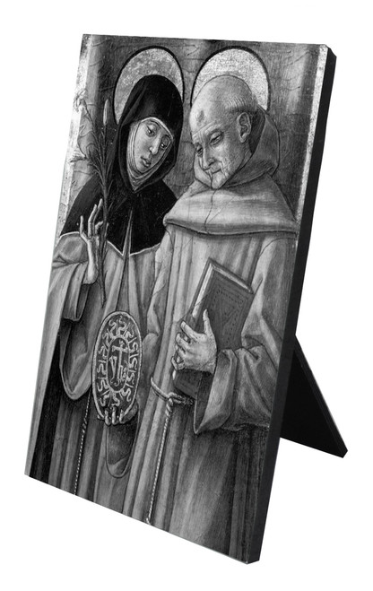 Sts. Catherine & Bernadino Vertical Desk Plaque