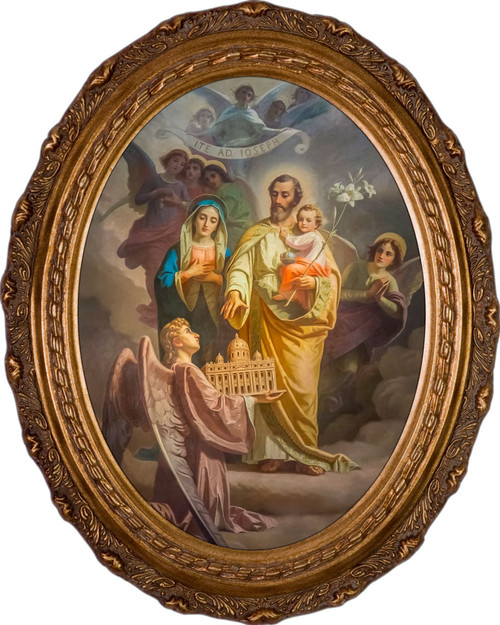 Joseph, Patron of the Church - Oval Framed Canvas