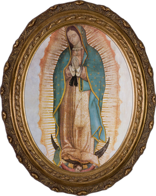 Our Lady of Guadalupe (Traditional) - Oval Framed Canvas
