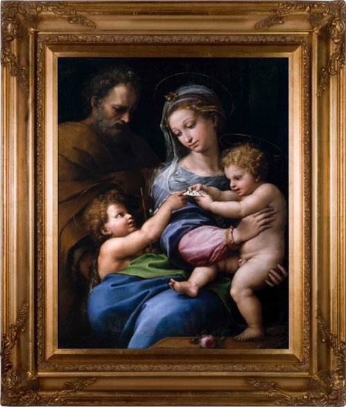 Madonna della Rosa - Gold Museum Framed Canvas