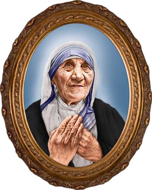 St. Teresa of Calcutta Canonization Portrait - Oval Framed Canvas