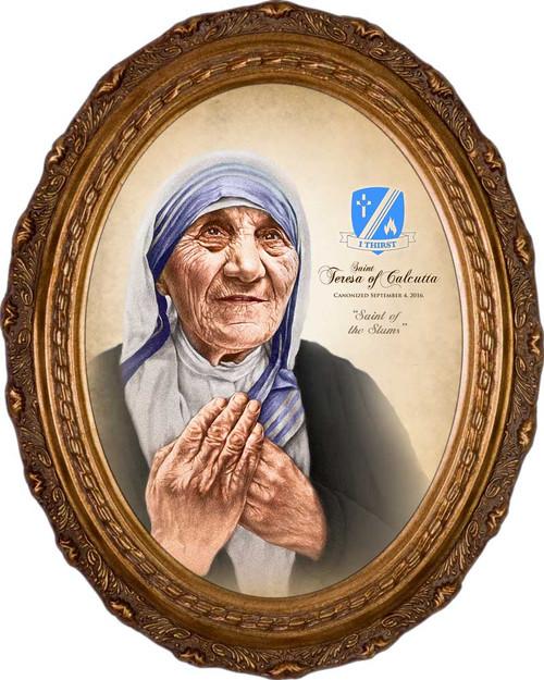 St. Teresa of Calcutta Commemorative Portrait - Oval Framed Canvas