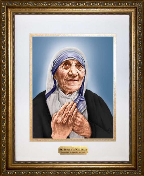 St. Teresa of Calcutta Sainthood Canonization Portrait Matted Framed Art with Plate