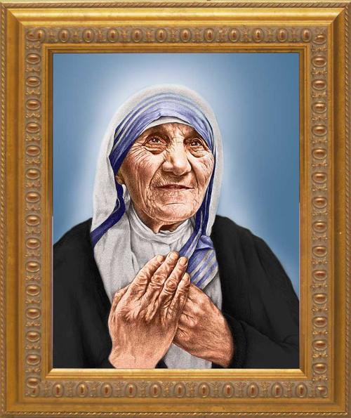 St. Teresa of Calcutta Canonization Portrait: Ornate Gold Framed Canvas