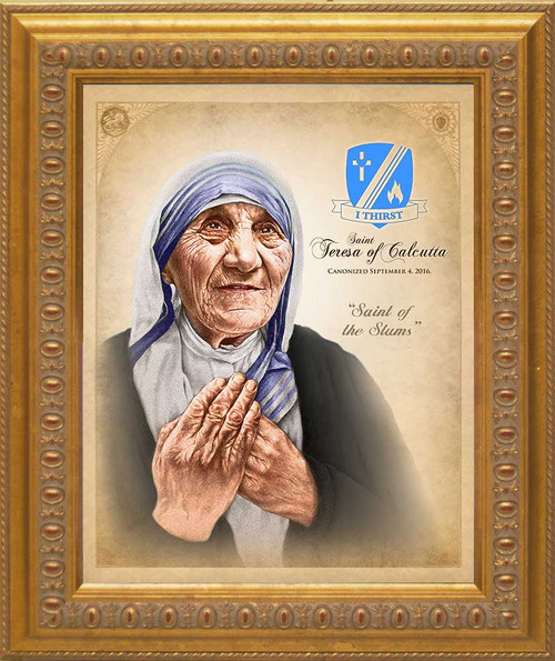 Commemorative St. Teresa of Calcutta Canonization Portrait: Ornate Gold Framed Canvas