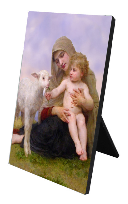 Madonna, Child, and Lamb Vertical Desk Plaque