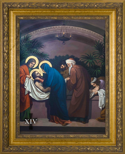 Emmerich Stations of the Cross in Large Gold Frames (Set of 14)