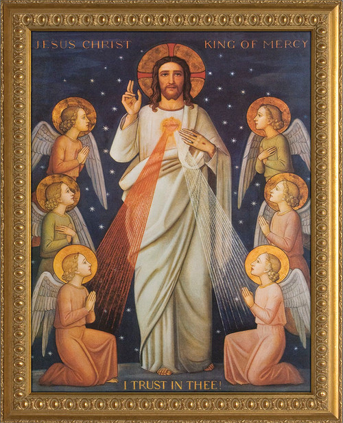 King of Divine Mercy - Ornate Gold Framed Canvas