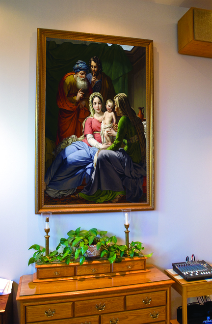 Holy Family with Grandparents Joachim and Anne - Church- Sized Framed Canvas