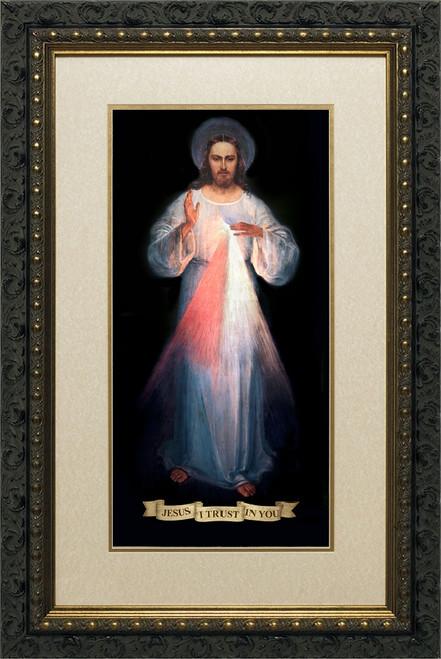 Divine Mercy Vilnius Original Matted - Ornate Dark Framed Art