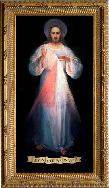 Divine Mercy Vilnius Original - Ornate Gold Framed Art