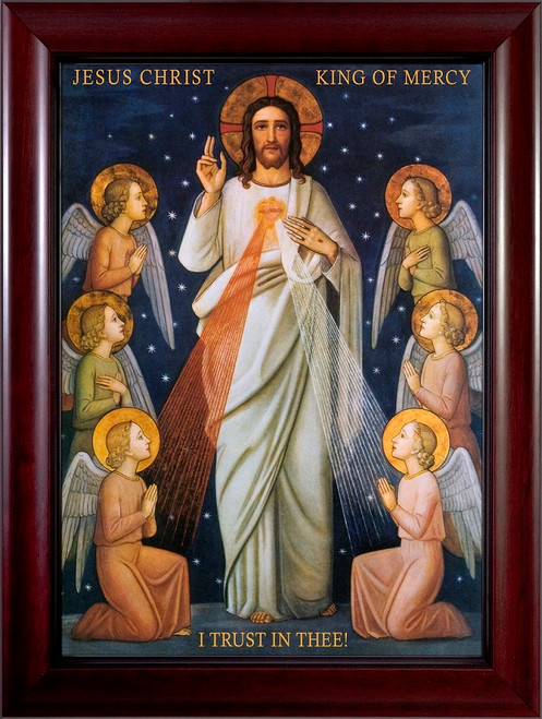 King of Divine Mercy - Cherry Framed Canvas
