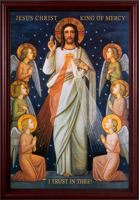 King of Divine Mercy Cherry Framed Art