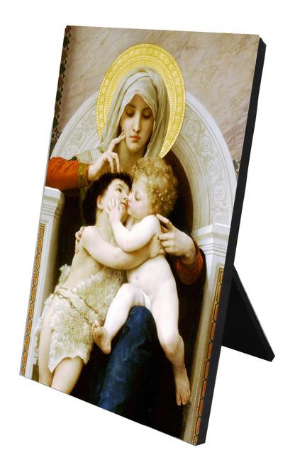 Virgin, Jesus, and St. John the Baptist (Embracing) Vertical Desk Plaque