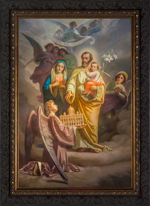 Joseph, Patron of the Church Canvas - Ornate Dark Framed Art