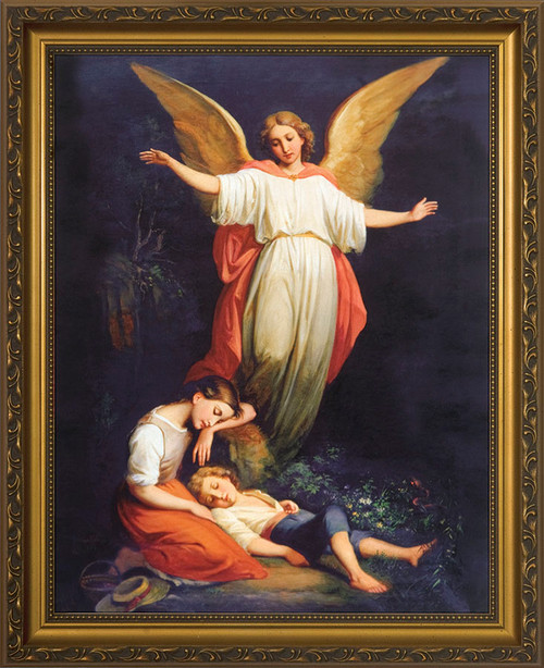 Guardian Angel with Children Resting - Standard Gold Framed Art
