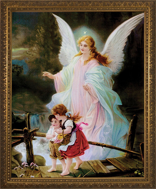 Angel on the Perilous Bridge - Standard Gold Framed Art
