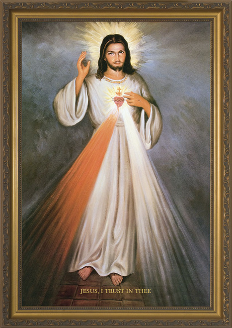 Divine Mercy with Sacred Heart Full Framed Art