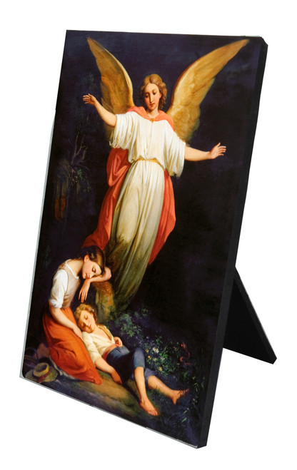 Guardian Angel with Children Resting Vertical Desk Plaque