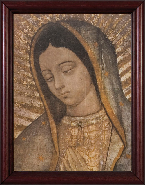 Our Lady of Guadalupe Bust - Cherry Framed Art
