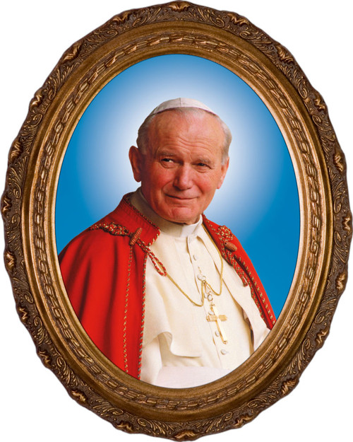 Pope John Paul II Sainthood Formal Portrait - Oval Framed Canvas