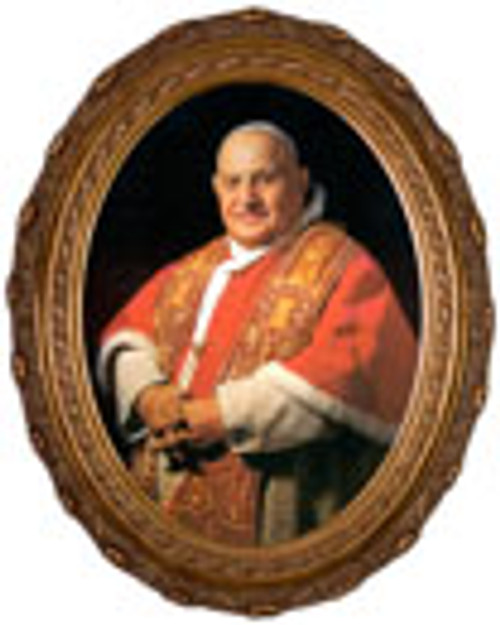 Pope John XXIII Sainthood Formal Portrait - Oval Framed Canvas