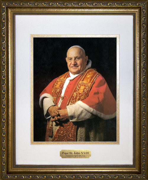 Pope John XXIII Sainthood Portrait Matted Framed Art with Plate