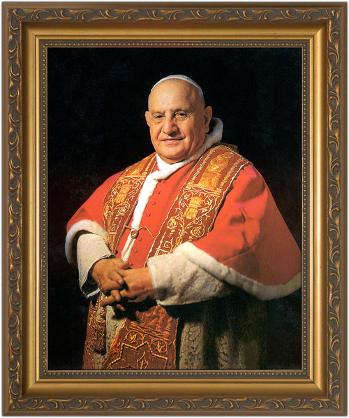 Pope John XXIII Sainthood Portrait - Gold Framed Canvas