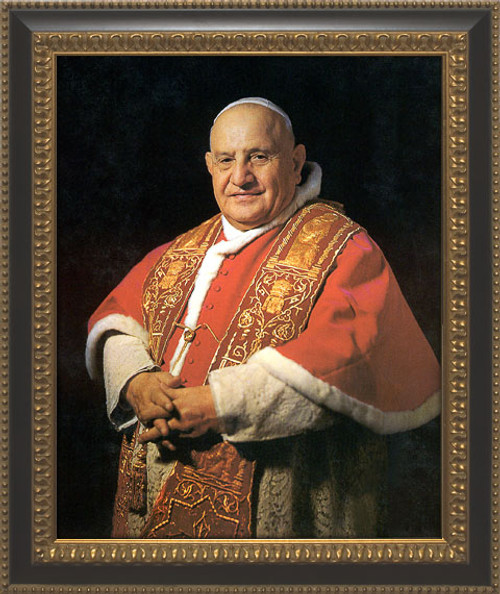 Pope John XXIII Sainthood Portrait: Ornate Black and Gold Framed Canvas