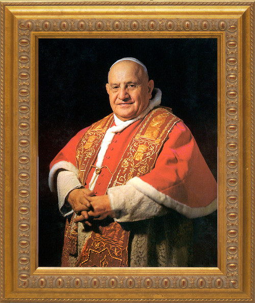 Pope John XXIII Sainthood Portrait: Ornate Gold Framed Canvas