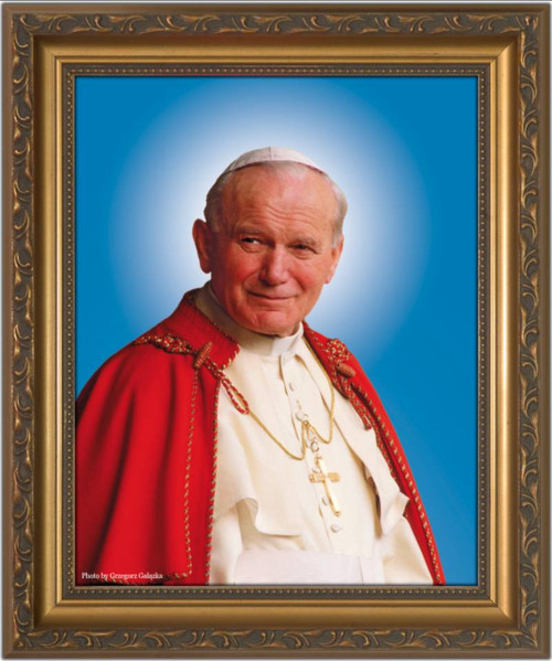 Pope John Paul II Sainthood Canonization Portrait - Gold Framed Canvas