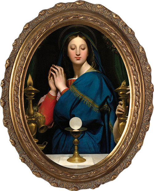 Madonna of the Host - Oval Framed Canvas