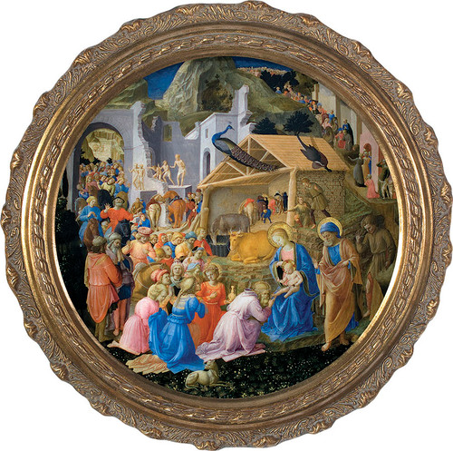 Adoration of the Magi - Round Framed Canvas