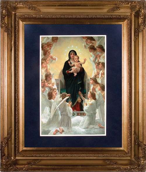 Queen of the Angels Matted - Gold Museum Framed Canvas